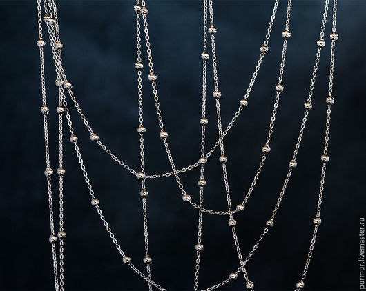 Для украшений ручной работы. Ярмарка Мастеров - ручная работа. Купить 1804_0.5_Цепочка 1.5x2.5 мм,Серебряная цепь,Цепочка с шариками серебро. Handmade.