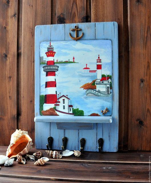 """Прихожая ручной работы. Ярмарка Мастеров - ручная работа. Купить Ключница """"Морская-2"""". Handmade. Синий, морская тема, морской"""