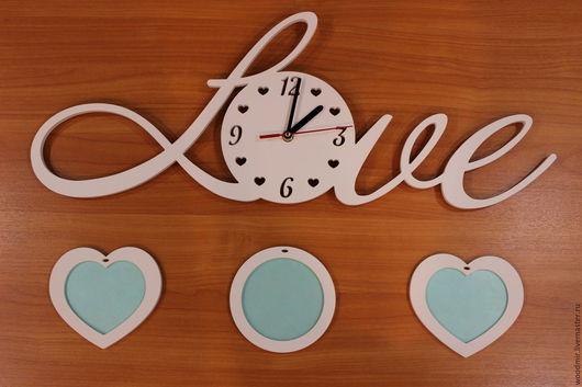 Часы для дома ручной работы. Ярмарка Мастеров - ручная работа. Купить Часы настенные с фоторамками. Handmade. Часы настенные, подарок