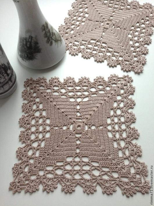 Текстиль, ковры ручной работы. Ярмарка Мастеров - ручная работа. Купить Салфетка квадратная вязаная. Handmade. Салфетка, подарок женщине