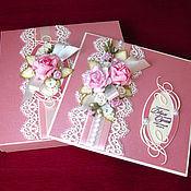 """Свадебный салон ручной работы. Ярмарка Мастеров - ручная работа Открытка в коробочке """"Розовые розы"""". Handmade."""