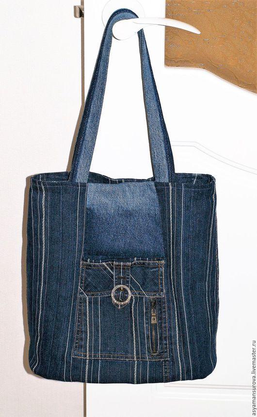 Женские сумки ручной работы. Ярмарка Мастеров - ручная работа. Купить Сумка джинсовая объёмная. Handmade. Тёмно-синий