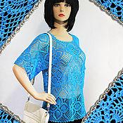 Одежда handmade. Livemaster - original item Knitted blue top crochet Heaven.. Handmade.
