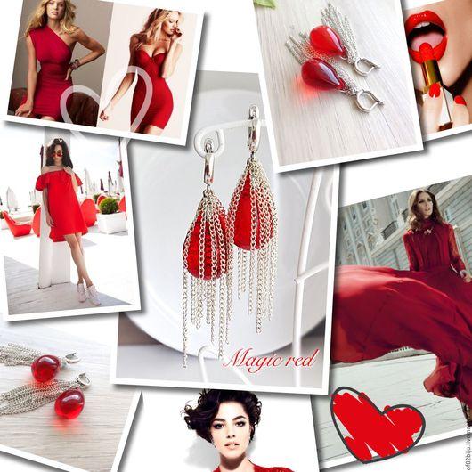 """Серьги ручной работы. Ярмарка Мастеров - ручная работа. Купить Серьги """"Magic red"""". Handmade. Ярко-красный, стильное украшение"""