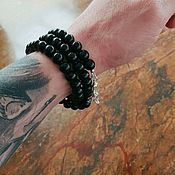 Украшения handmade. Livemaster - original item Men`s obsidian winding bracelet with 925 silver. Handmade.