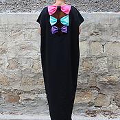 Одежда ручной работы. Ярмарка Мастеров - ручная работа Черное коктейльное макси платье, кафтан с бантиками открытой спиной. Handmade.