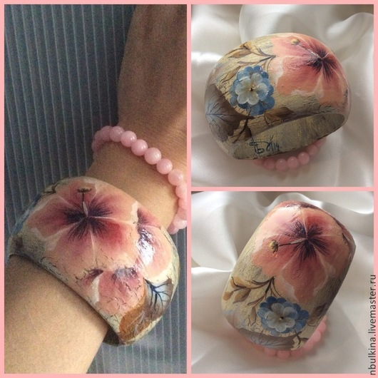 Деревянный браслет расписанный вручную ` Мальва`, очень нежный и летний. Прекрасный подарок для девушки:)