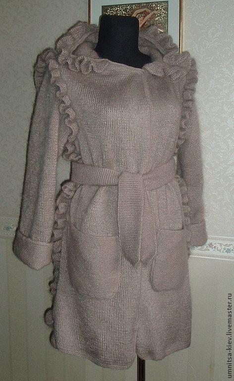 """Верхняя одежда ручной работы. Ярмарка Мастеров - ручная работа. Купить Вязаное пальто """"Норка"""". Handmade. Бежевый, пальто с капюшоном"""