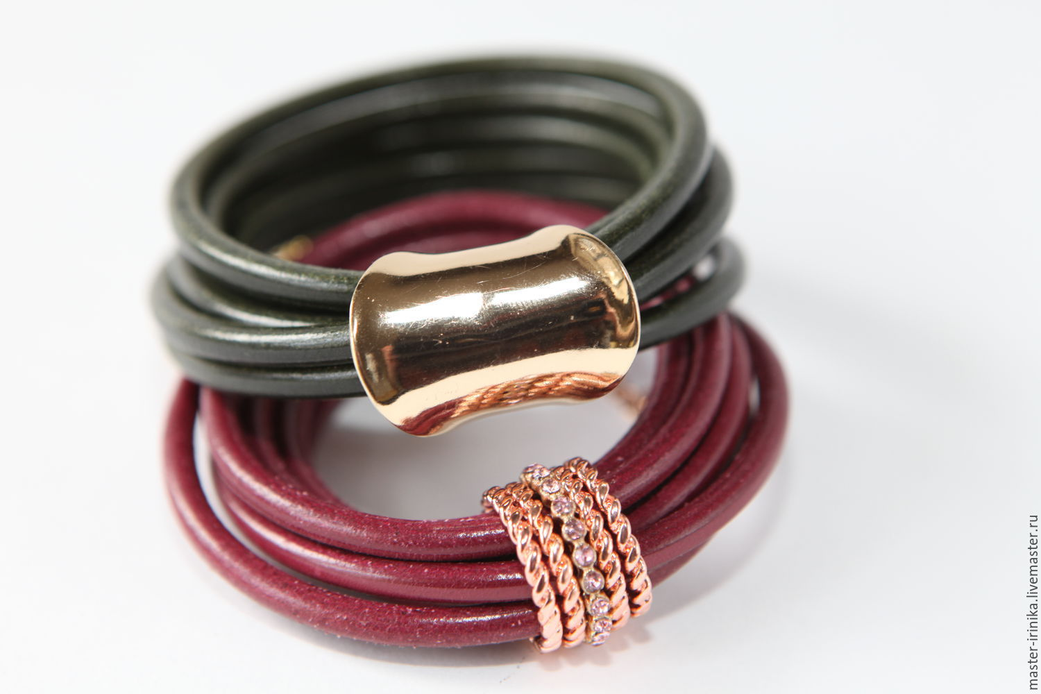 Bracelet handmade `Elegance` with rings from the collection Accessorize. Available in two colors, garnet and bottle. Iranica. Workshop images Irina N. Jewelry crafted