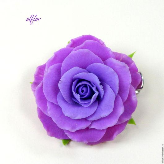"""Детская бижутерия ручной работы. Ярмарка Мастеров - ручная работа. Купить Заколка """"Розочка"""". Handmade. Фиолетовый, цветок, сиреневая роза"""