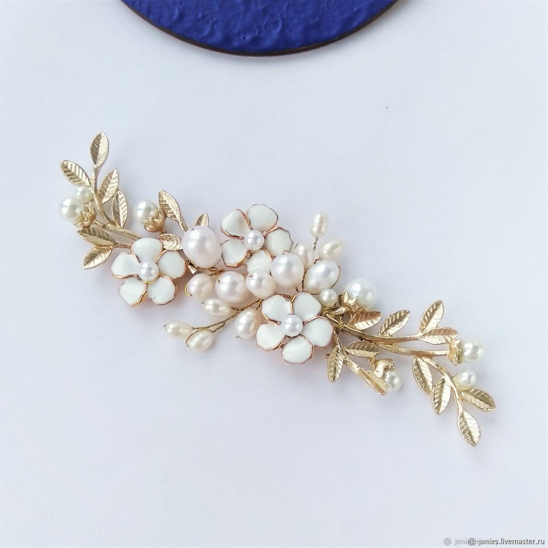 Wedding Hair Accessories, Gold Flower Headpiece,Bridal leaf hair piece, Hair Decoration, Tomsk,  Фото №1