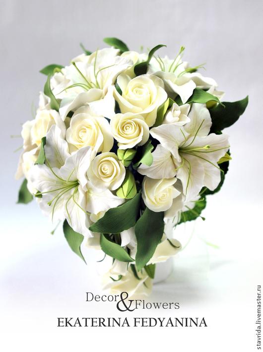 Свадебные цветы ручной работы. Ярмарка Мастеров - ручная работа. Купить Букет  невесты из лилий и роз. Handmade. Белый, розы