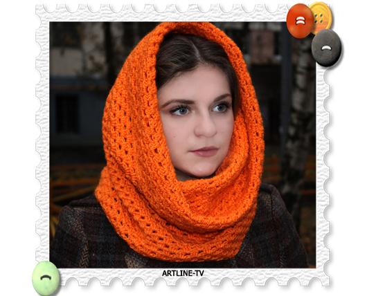 Шляпы ручной работы. Ярмарка Мастеров - ручная работа. Купить Оранжевый снуд. Handmade. Оранжевый, снуд женский, снуд крючком