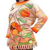 """Одежда ручной работы. Ярмарка Мастеров - ручная работа Вязаная туника """"Маковая вспышка"""". Handmade."""