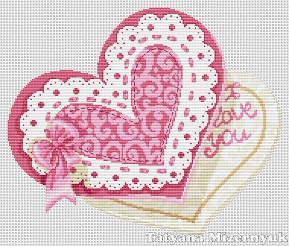 Схема вышивки крестом валентинок 326