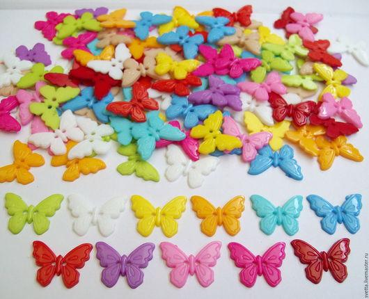Шитье ручной работы. Ярмарка Мастеров - ручная работа. Купить Пуговицы-бабочки на 2 прокола. Handmade. Пуговица, декоративные пуговицы