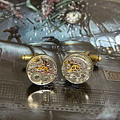 Украшения handmade. Livemaster - original item CUFFLINKS STEAMPUNK WITH a CLOCKWORK BRONZE 16 mm. Handmade.