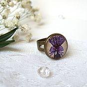 Украшения handmade. Livemaster - original item Vintage Ring with a Bouquet of Lavender