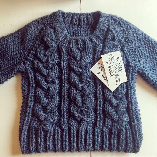 Кофты и свитера ручной работы. Ярмарка Мастеров - ручная работа. Купить Короткий синий свитер с косами. Handmade. Свитер вязаный