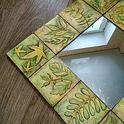 Для дома и интерьера ручной работы. Ярмарка Мастеров - ручная работа Зеркало с рельефом из штукатурки  Гербарий. Handmade.