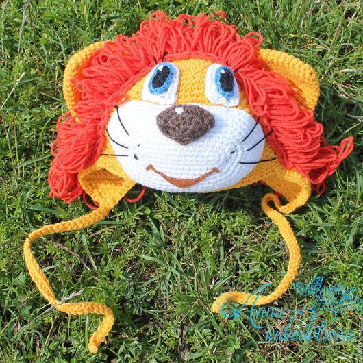 """Шапки и шарфы ручной работы. Ярмарка Мастеров - ручная работа. Купить Шапка """"Львенок"""". Handmade. Оранжевый, шапка вязаная, лев"""
