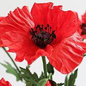 "Цветы и флористика handmade. Livemaster - original item Poppy/Red flower.Bouquet of poppies from polymer clay ""Bright summer"".. Handmade."