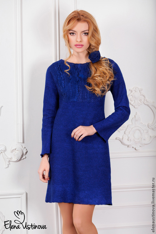 """Платья ручной работы. Ярмарка Мастеров - ручная работа. Купить """"Bright blue"""". Платье валяное из  мериносовой шерсти и шелка.. Handmade."""