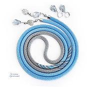 Украшения handmade. Livemaster - original item Lariat of beads Spring water gray blue. Handmade.