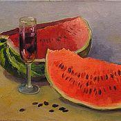 Картины и панно handmade. Livemaster - original item A painting of a Watermelon and wine oil on Canvas still life. Handmade.