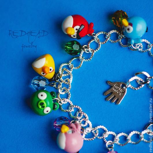 Браслеты ручной работы. Ярмарка Мастеров - ручная работа. Купить angry birds браслет. Handmade. Разноцветный, из полимерной глины
