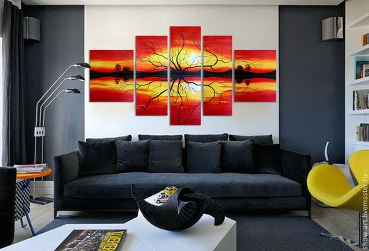 """Пейзаж ручной работы. Ярмарка Мастеров - ручная работа. Купить """"Оранжевый закат"""" Модульная картина. Handmade. Оранжевый, картина для интерьера"""