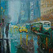 Картины и панно ручной работы. Ярмарка Мастеров - ручная работа Город в дождь. Handmade.