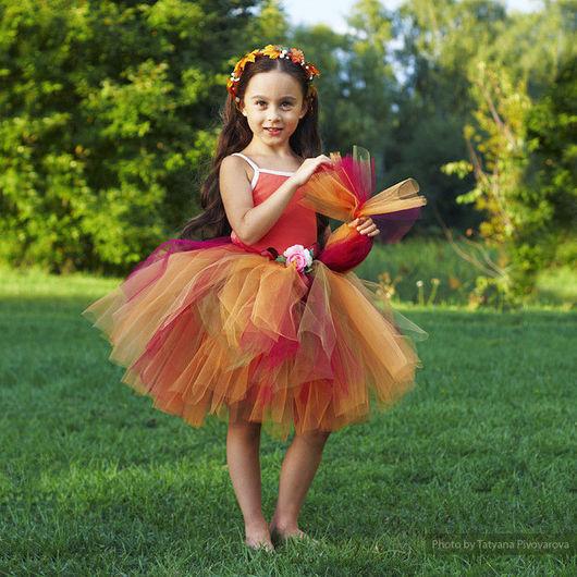 """Детские карнавальные костюмы ручной работы. Ярмарка Мастеров - ручная работа. Купить """"Принцесса Осень"""" карнавальный костюм юбка-пачка и венок. Handmade."""