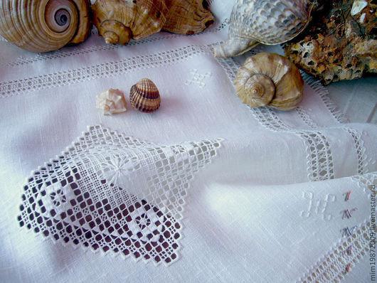 ретро, салфетка льняная белая с вышивкой ручная вышивка строчевая мережки вышивка белым по белому кружевная прорезная вышивка морская мулине белые
