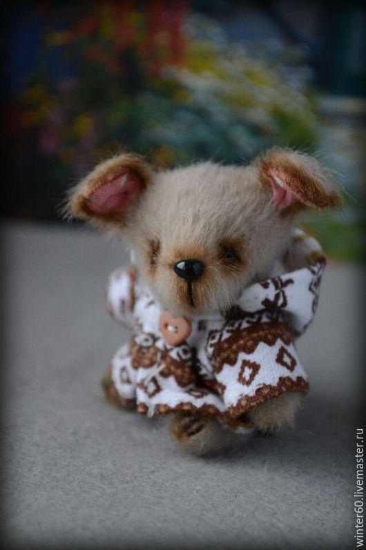 Мишки Тедди ручной работы. Ярмарка Мастеров - ручная работа. Купить Собачка Бусик. Handmade. Бежевый, теддик