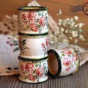 Для дома и интерьера ручной работы. Ярмарка Мастеров - ручная работа Кольца для салфеток ``Нежные розочки``. Handmade.