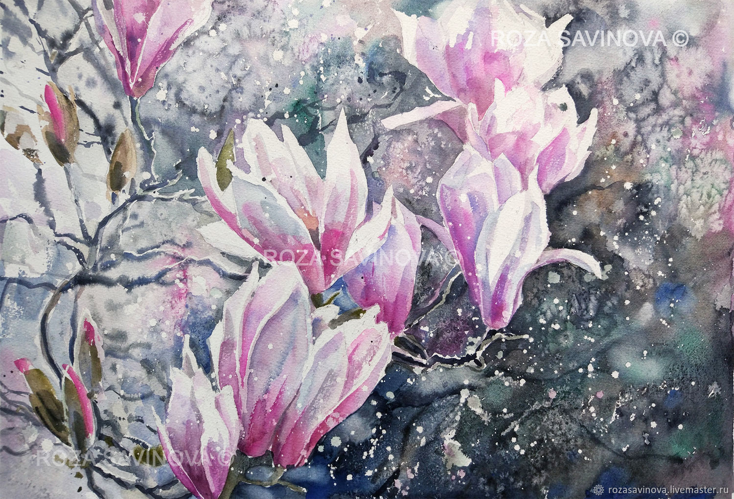 Watercolor painting Magnolia Spring flowers, Pictures, Magnitogorsk,  Фото №1