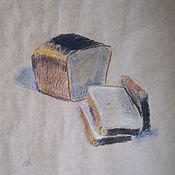 Картины и панно ручной работы. Ярмарка Мастеров - ручная работа Полбуханки чёрного хлеба.. Handmade.