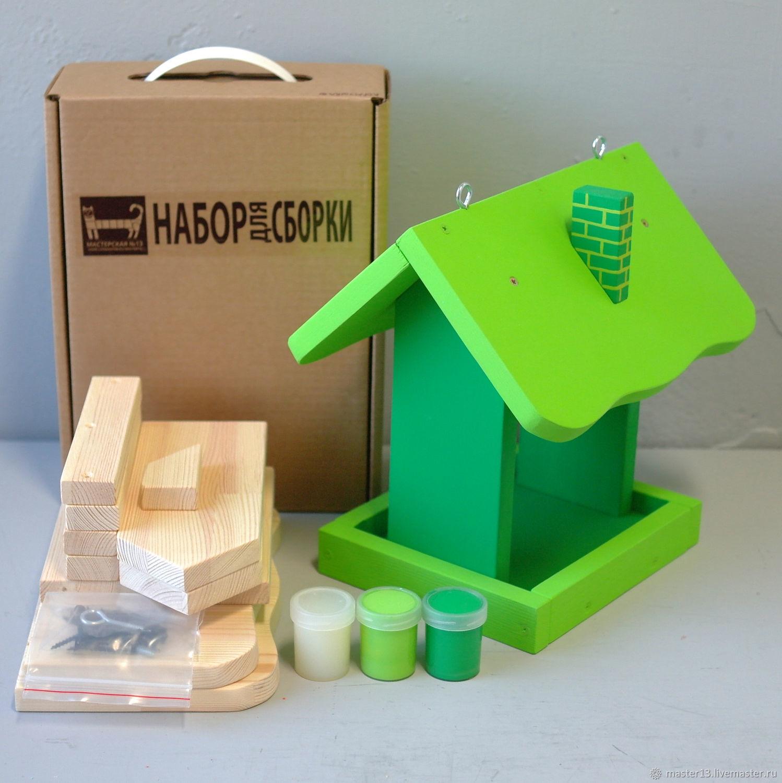 Развивающие игрушки ручной работы. Ярмарка Мастеров - ручная работа. Купить Кормушка / ЗЕЛЕНАЯ / набор-конструктор с красками / без рисунка. Handmade.