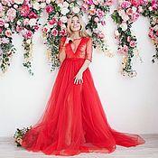 Одежда ручной работы. Ярмарка Мастеров - ручная работа Красное будуарное платье с рюшами и шлейфом. Handmade.