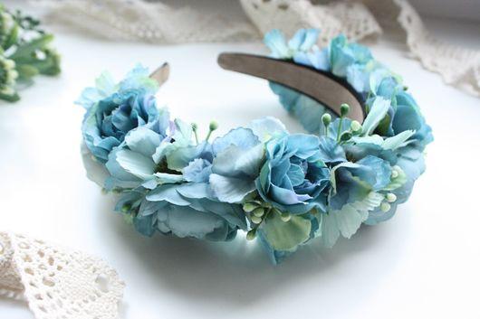 Диадемы, обручи ручной работы. Ярмарка Мастеров - ручная работа. Купить Ободок с цветами в голубых тонах. Handmade. Ободок для волос