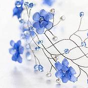Свадебный салон ручной работы. Ярмарка Мастеров - ручная работа 32 Голубые цветы, Тиара для невесты, Для свадьбы, Свадебные аксессуары. Handmade.