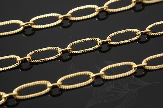 Крупная цепь с текстурной насечкой, из латуни с полированной позолотой. Фурнитура для украшений из Южной Кореи.