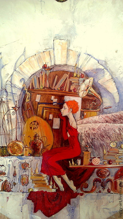 """Символизм ручной работы. Ярмарка Мастеров - ручная работа. Купить """"Предчувствие...."""". Handmade. Ярко-красный, картина в спальню"""
