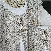 Одежда ручной работы. Ярмарка Мастеров - ручная работа платье изо льна, жилет вязваный крючком,  56-58 размер. Handmade.