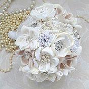 Свадебный салон handmade. Livemaster - original item white wedding brooch bouquet made of tissues. Winter bouquet. Handmade.