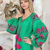 Одежда ручной работы. Ярмарка Мастеров - ручная работа Туника зеленая с ярко-розовой вышивкой. Handmade.