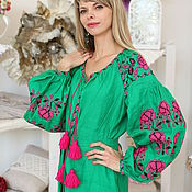 Одежда handmade. Livemaster - original item Tunic of green with bright pink embroidery. Handmade.