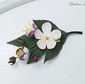 Украшения handmade. Livemaster - original item Brooch of the skin When the gardens are blooming. Decoration leather. Handmade.