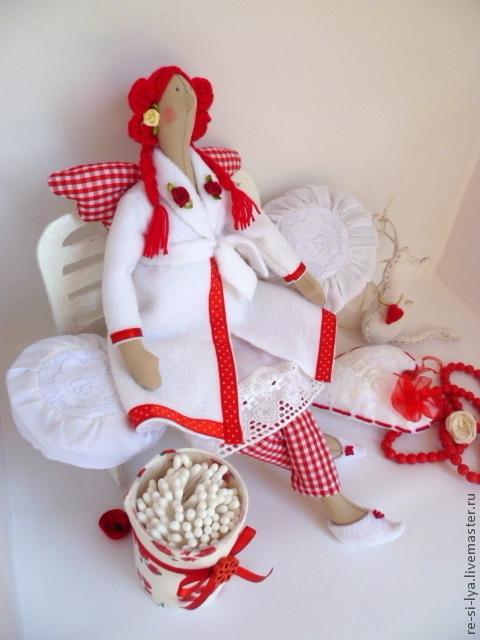 Куклы Тильды ручной работы. Ярмарка Мастеров - ручная работа. Купить Тильда банный ангел или хранительница ватных дисков и палочек.. Handmade.